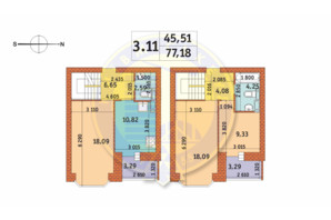 ЖК Чаривне Мисто: планировка 3-комнатной квартиры 77.18 м²
