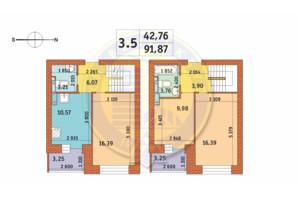 ЖК Чаривне Мисто: планировка 3-комнатной квартиры 91.87 м²
