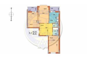 ЖК Чаривне Мисто: планировка 3-комнатной квартиры 81.34 м²