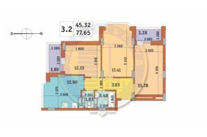 ЖК Чаривне Мисто: планировка 3-комнатной квартиры 77.65 м²