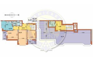ЖК Чаривне Мисто: планировка 3-комнатной квартиры 118.97 м²