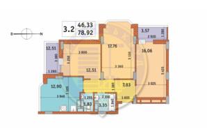 ЖК Чаривне Мисто: планировка 3-комнатной квартиры 78.92 м²