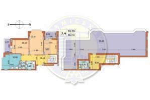 ЖК Чаривне Мисто: планировка 3-комнатной квартиры 117.11 м²