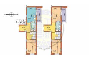 ЖК Чаривне Мисто: планировка 3-комнатной квартиры 94.92 м²