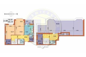 ЖК Чаривне Мисто: планировка 2-комнатной квартиры 102.25 м²