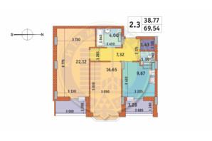 ЖК Чаривне Мисто: планировка 2-комнатной квартиры 69.54 м²