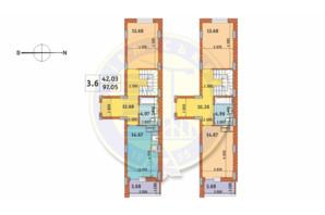 ЖК Чаривне Мисто: планировка 3-комнатной квартиры 97.05 м²
