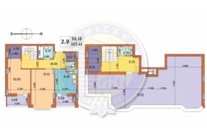 ЖК Чаривне Мисто: планировка 2-комнатной квартиры 107.41 м²