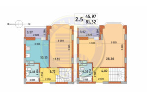 ЖК Чаривне Мисто: планировка 2-комнатной квартиры 81.32 м²