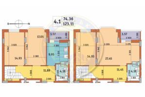 ЖК Чаривне Мисто: планировка 4-комнатной квартиры 123.11 м²