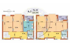 ЖК Чаривне Мисто: планировка 4-комнатной квартиры 122.64 м²