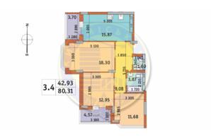 ЖК Чаривне Мисто: планировка 3-комнатной квартиры 80.31 м²