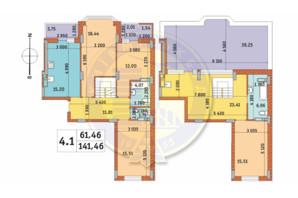 ЖК Чаривне Мисто: планировка 4-комнатной квартиры 141.45 м²
