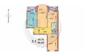 ЖК Чаривне Мисто: планировка 3-комнатной квартиры 86.6 м²