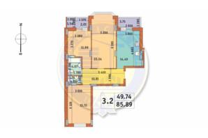 ЖК Чаривне Мисто: планировка 3-комнатной квартиры 85.89 м²