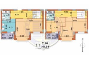 ЖК Чаривне Мисто: планировка 3-комнатной квартиры 101.98 м²