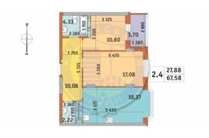 ЖК Чаривне Мисто: планировка 2-комнатной квартиры 67.58 м²
