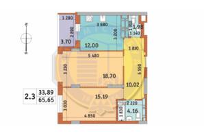 ЖК Чаривне Мисто: планировка 2-комнатной квартиры 65.65 м²
