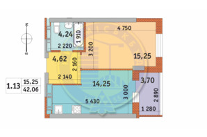 ЖК Чаривне Мисто: планировка 1-комнатной квартиры 42.06 м²