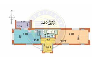 ЖК Чаривне Мисто: планировка 1-комнатной квартиры 48.53 м²