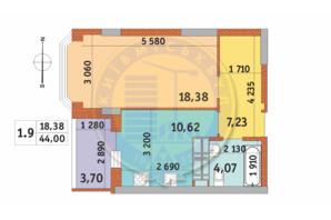 ЖК Чаривне Мисто: планировка 1-комнатной квартиры 44 м²