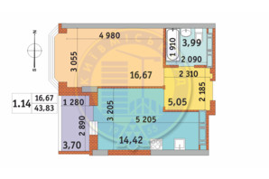 ЖК Чаривне Мисто: планировка 1-комнатной квартиры 43.83 м²