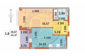 ЖК Чаривне Мисто: планировка 1-комнатной квартиры 44.17 м²