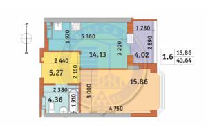 ЖК Чаривне Мисто: планировка 1-комнатной квартиры 43.64 м²