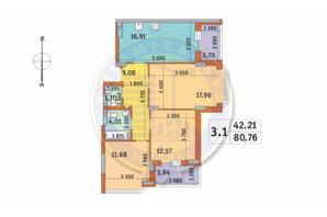 ЖК Чаривне Мисто: планировка 3-комнатной квартиры 80.76 м²