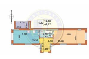 ЖК Чаривне Мисто: планировка 1-комнатной квартиры 49.27 м²