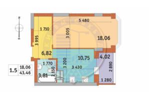 ЖК Чаривне Мисто: планировка 1-комнатной квартиры 43.46 м²