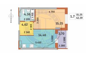 ЖК Чаривне Мисто: планировка 1-комнатной квартиры 42.39 м²