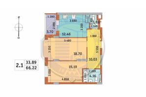 ЖК Чаривне Мисто: планировка 2-комнатной квартиры 66.22 м²