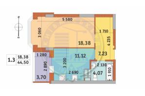 ЖК Чаривне Мисто: планировка 1-комнатной квартиры 44.5 м²