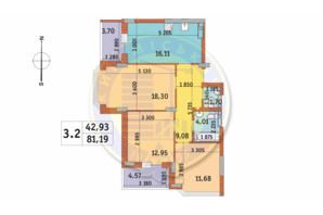 ЖК Чаривне Мисто: планировка 3-комнатной квартиры 81.19 м²