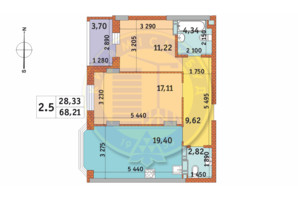 ЖК Чаривне Мисто: планировка 2-комнатной квартиры 68.21 м²