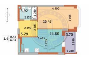 ЖК Чаривне Мисто: планировка 1-комнатной квартиры 44.14 м²
