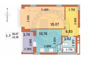 ЖК Чаривне Мисто: планировка 1-комнатной квартиры 43.18 м²