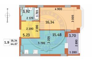 ЖК Чаривне Мисто: планировка 1-комнатной квартиры 44.67 м²