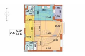 ЖК Чаривне Мисто: планировка 2-комнатной квартиры 66.94 м²