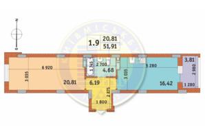 ЖК Чаривне Мисто: планировка 1-комнатной квартиры 51.91 м²