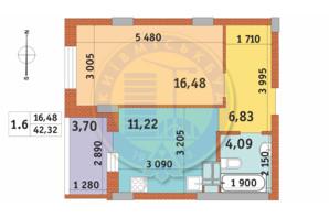 ЖК Чаривне Мисто: планировка 1-комнатной квартиры 42.32 м²