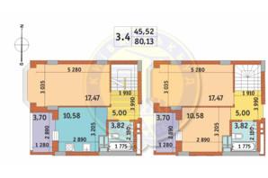 ЖК Чаривне Мисто: планировка 3-комнатной квартиры 80.13 м²