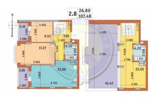 ЖК Чаривне Мисто: планировка 2-комнатной квартиры 107.48 м²