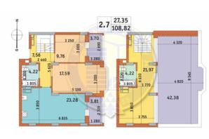 ЖК Чаривне Мисто: планировка 2-комнатной квартиры 108.82 м²