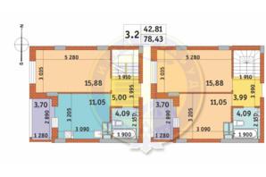 ЖК Чаривне Мисто: планировка 3-комнатной квартиры 78.43 м²