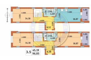 ЖК Чаривне Мисто: планировка 3-комнатной квартиры 96.85 м²
