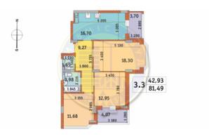 ЖК Чаривне Мисто: планировка 3-комнатной квартиры 81.49 м²