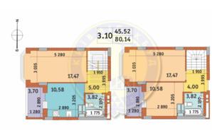 ЖК Чаривне Мисто: планировка 3-комнатной квартиры 80.14 м²