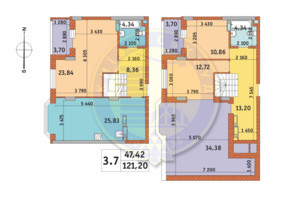ЖК Чаривне Мисто: планировка 3-комнатной квартиры 121.2 м²